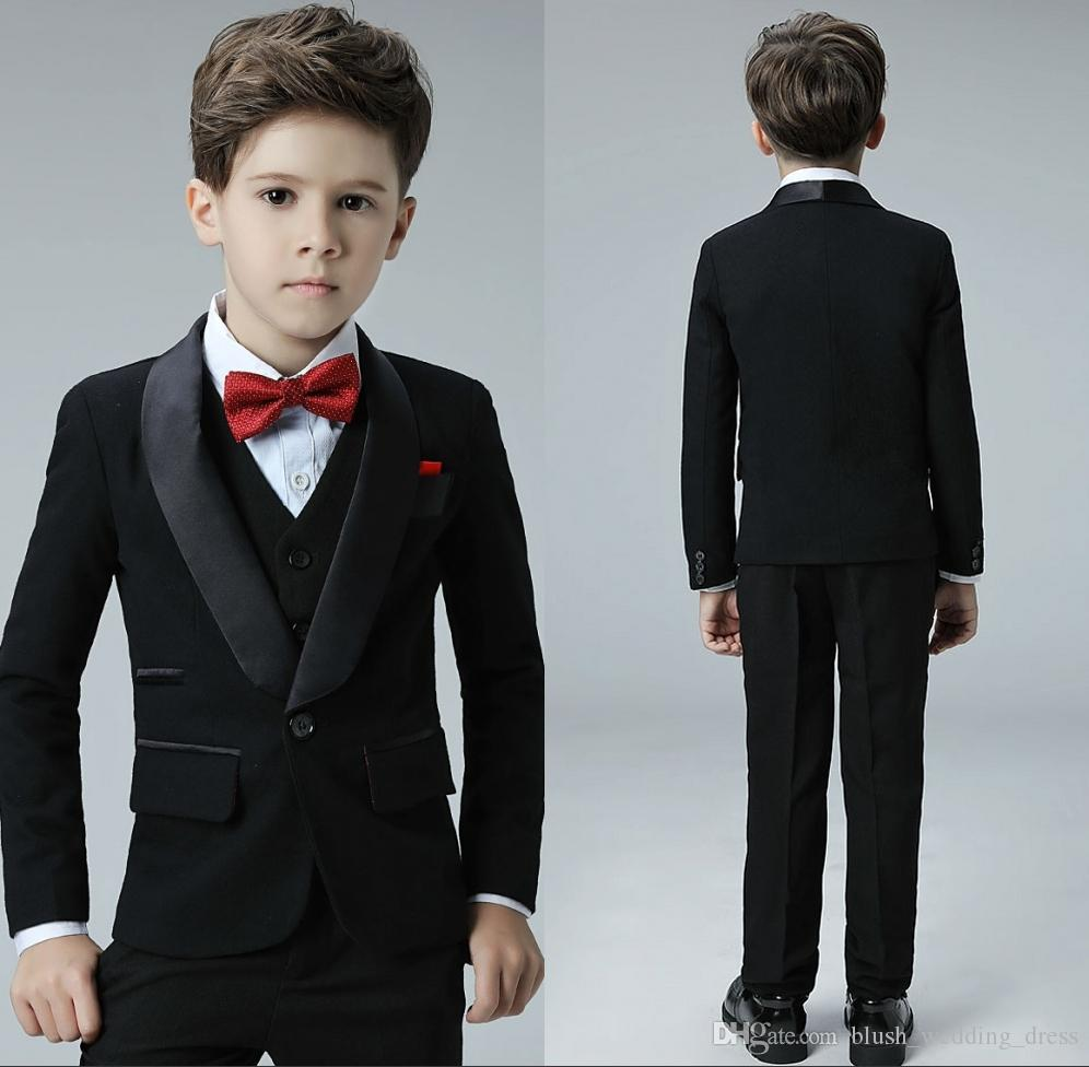 Custom-Made High Quality Cool One Button Shawl Lapel Kid Complete Designer Handsome Boy Wedding Suit Boys' Attire (Jacket+Pants+Vest)