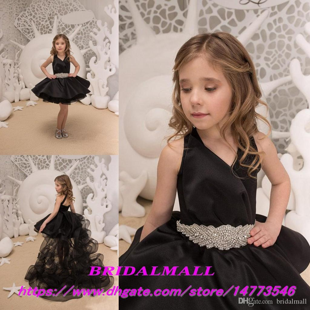 Black Tulle Girls Pageant Dresses With Ruffles Train 2019 Baby Girl  Birthday Formal Party Gowns Beading Sash Christmas Flower Girl Dress