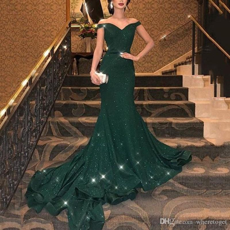 Fashion Green Sequins V Neck Prom Dresses Mermaid Long Party Gowns For Girls Birthday Dresses Sexy Evening Dress Plus Size vestidos de novia