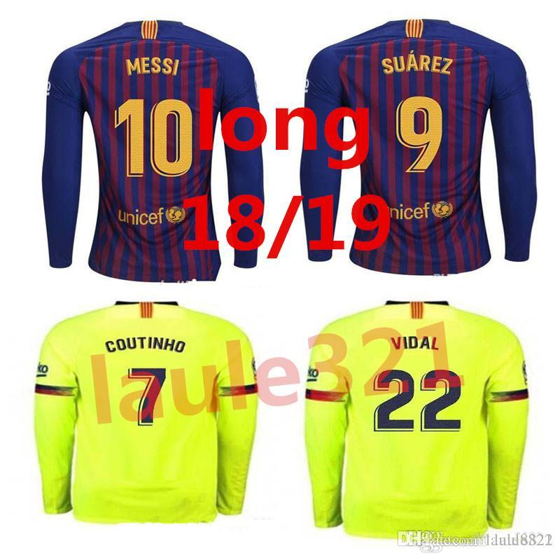 55ee566a79b 2019 2018 2019 Long FC Barcelona MESSI Soccer Jersey Men Home Away Pink Man  Kits 18 19 Suárez DEMBELE COUTINHO Football Shirt Top Thai Quality From ...
