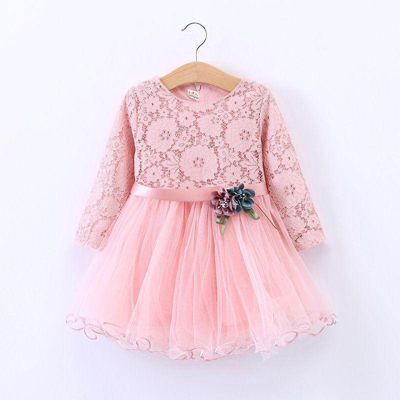 daa0087cf503c Acheter Mode Fleur Dentelle Robe Fille Princesse Rouge Rose Vêtements Robe  Infantil Enfant Enfant Costume Printemps Automne Enfants Vêtements De   33.48 Du ...