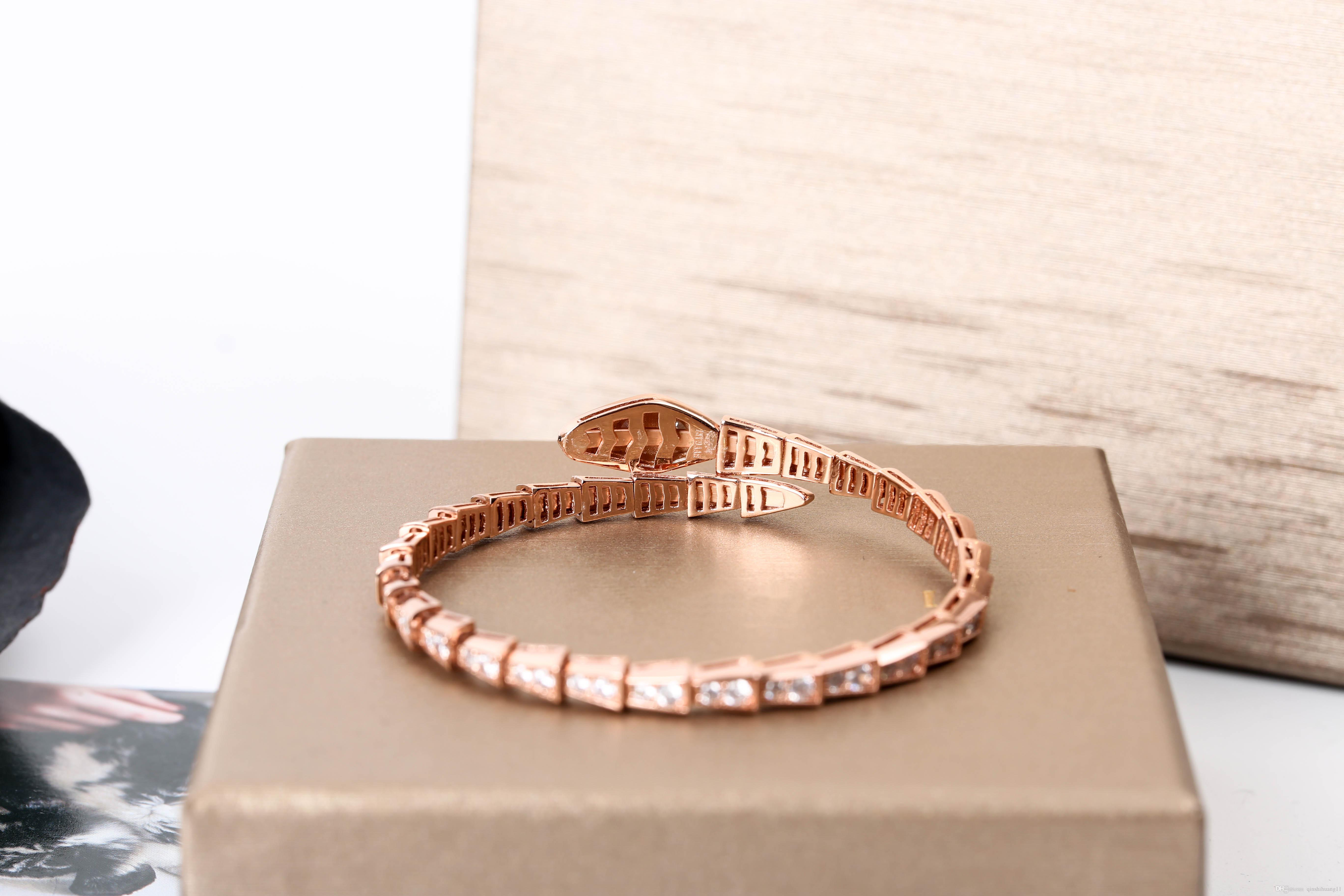 925 Silver Jewelry Pure Fund Snake Head Ring Bracelet Rose Gold Golden Serpentine Chain Bracelets For Women Fashion Bangles Brand