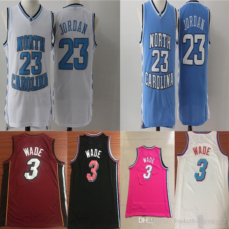 big sale 617f2 e1371 Dwyane 3 Wade 23 Michael MJ Vince 15 Carter Jersey North NCAA Carolina  College Basketball Jerseys