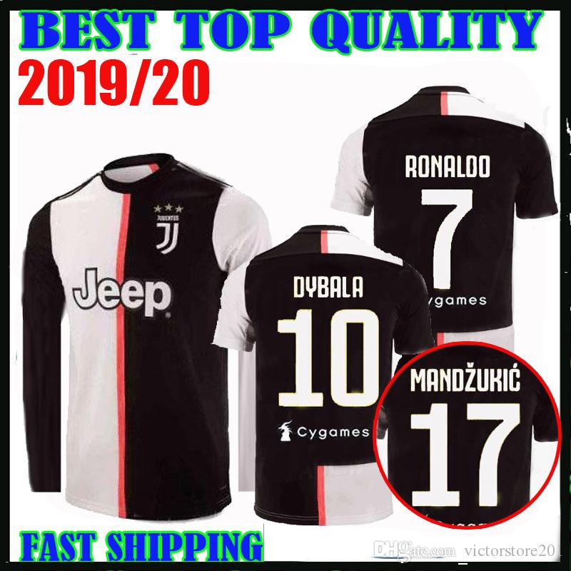 sports shoes 13e35 02f05 19 20 RONALDO Juventus long sleeve soccer jerseys DYBALA 2019 2020  champions league home MANDZUKIC Bonucci MATUIDI football shirts PJANIC