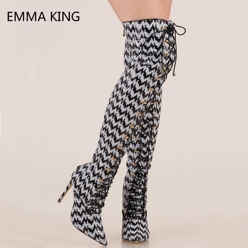 478f193c343 Gold Sequin Thigh High Boots Women Lace Up Shoes Woman Stiletto Heels Sexy  Pointed Toe Over Knee Booties Tenis Feminino Chelsea Boots Shoes Online  From ...