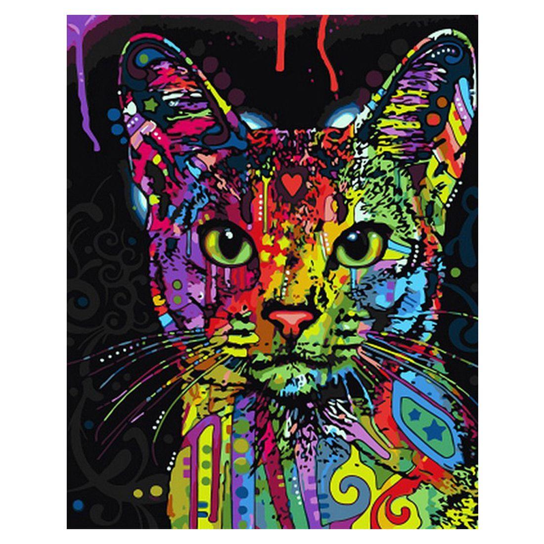 Malen Nach Zahlen Ungerahmt Gerahmte Leinwand Katze Tier Diy Digitales ölgemälde Kit Für Erwachsene Anfänger