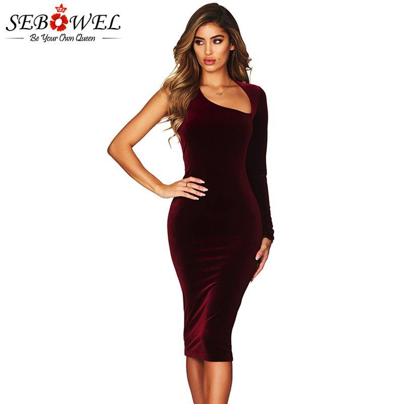 8e25bb6f2b71 Acquista Vendita All ingrosso Sexy Bordeaux Velluto Midi Club Party Dress  Donna Elegante Asimmetrico Un Manicotto Vestito Aderente Signore Velluto  Abito Da ...