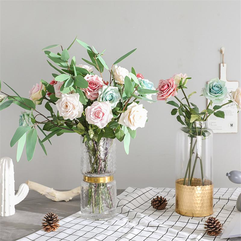 Artificial & Dried Flowers Single Silk Artificial Flower Roses Branch Fake Roses Wedding Simulation Flowers Decoration For Table Home Party Wall Background Home & Garden