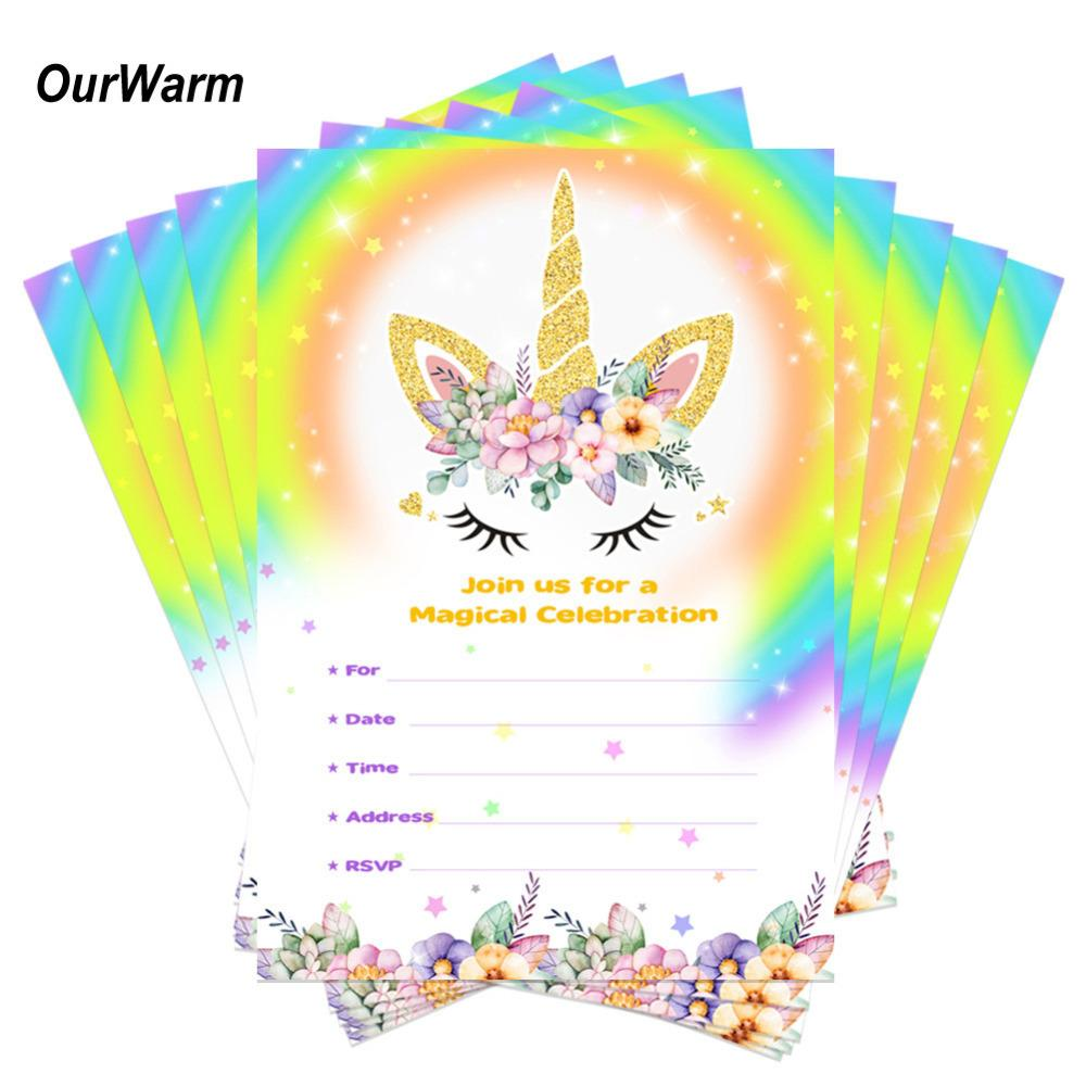 2019 OurWarm Unicorn Party Birthday Invitations Cards With Envelopes Kids Thank You Sticker C18122501 From Mingjing02