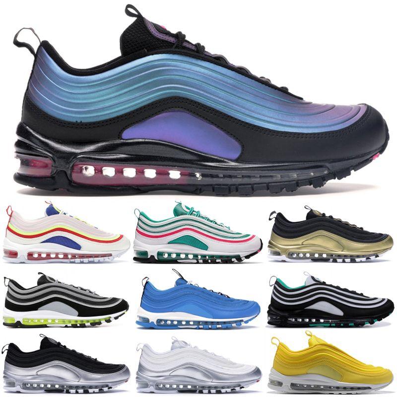 Nike air max 97 Vente chaude Nouveaux Hommes chaussures de course Throwback Future Bright Citron Métallique Or Triple Noir Chaussures De Formation De