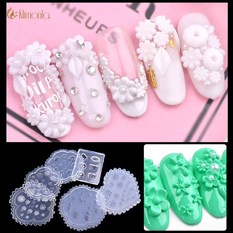 6Pcs Daisy Flower Silicone Mold 3d Leaves Heart Shell Portrait Resin Nail  Art Mold For DIY UV Gel Polish Designs Manicure Tools