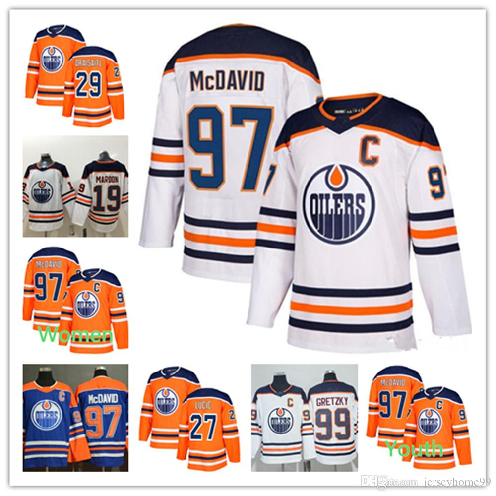 best authentic d4812 ad409 2018 News 97 Connor McDavid Jersey Edmonton Oilers 99 Wayne Gretzky 29 Leon  Draisaitl 27 Milan Lucic 93 Ryan Nugent-Hopkins Hockey Jerseys