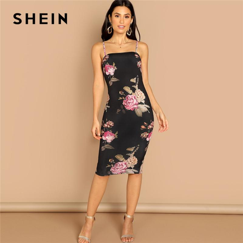 SHEIN Multicolor Flower Print Cami Dress Knee Length Mid Waist Slim Fit  Spaghetti Dress 2018 Autumn Modern Lady Women Dresses Grey Party Dress Blue  Lace ... cdc7356477