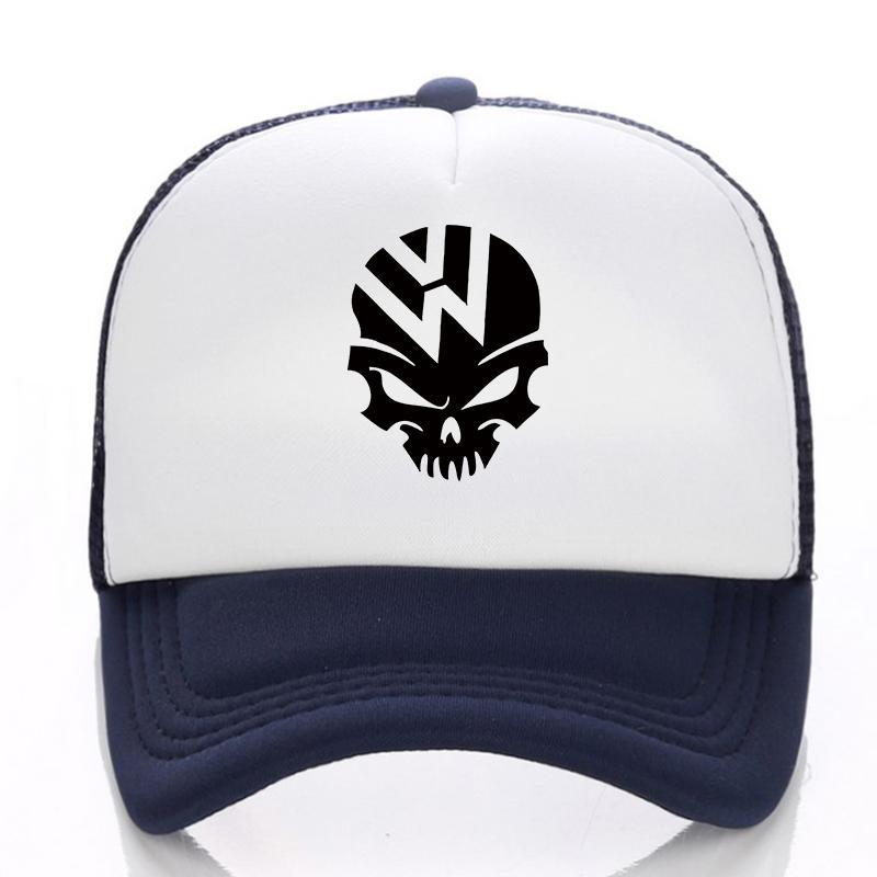Cool VW Skull Funny Logo Baseball Cap Men Women 2019 Snapback Hat Hip Hop  Hat Summer Mesh Fall Fitted Caps Black Baseball Cap From Shuocong 54479fdce22c