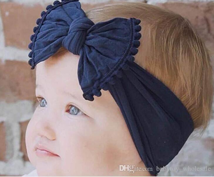 2d55c3b05ef Cute Baby Girl Kid Big Bow Hairband Headband Solid Cotton Stretch Turban  Knot Head Wrap Headwear Girls Tassels Headband 0 6Years Hair Accessories  For Prom ...
