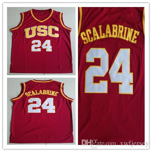 hot sale online 0f82a 0ef71 High Quality Mens USC Trojans College Jersey #24 Brian Scalabrine 100%  Stitched Basketball Jerseys Size S-2XL