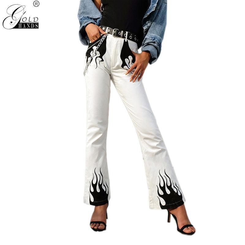 504a99c5ae8ca Compre Moda Primavera Ropa De Calle Mujeres Pantalón Con Estampado De  Llamas Casual Mujer Pantalones Anchos De Pierna Pantalones Casual Loose Hip  Hop Gold ...