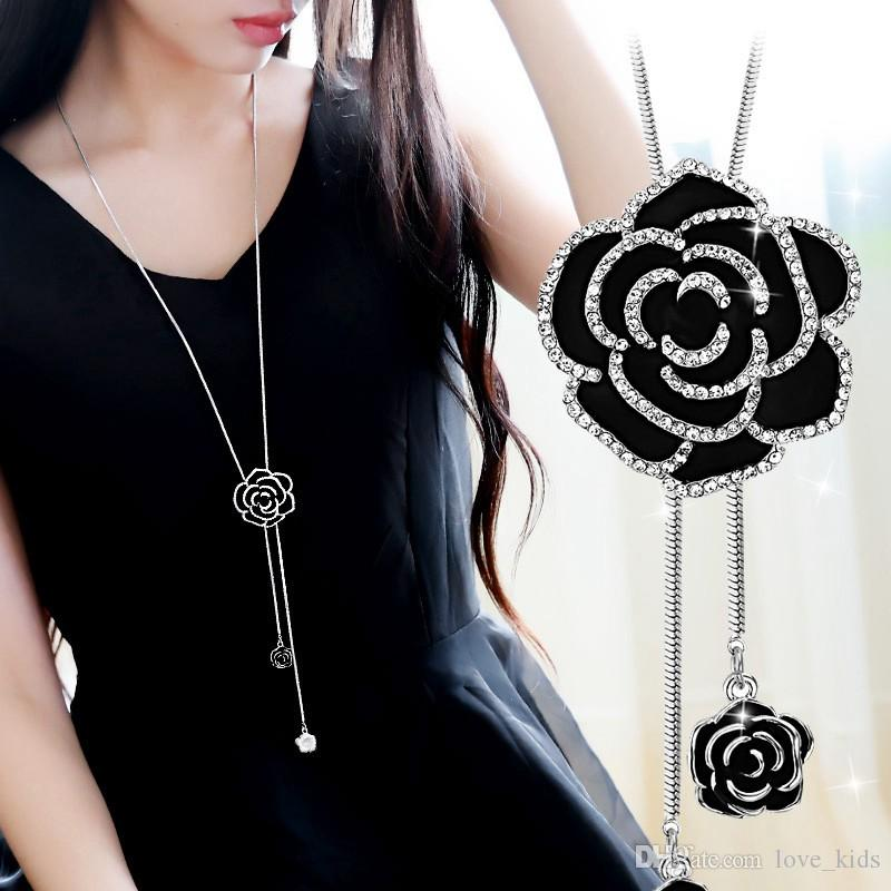 Fashion ladies black rose long necklace sweater chain stylish women rose gleam long style gold silver pendant