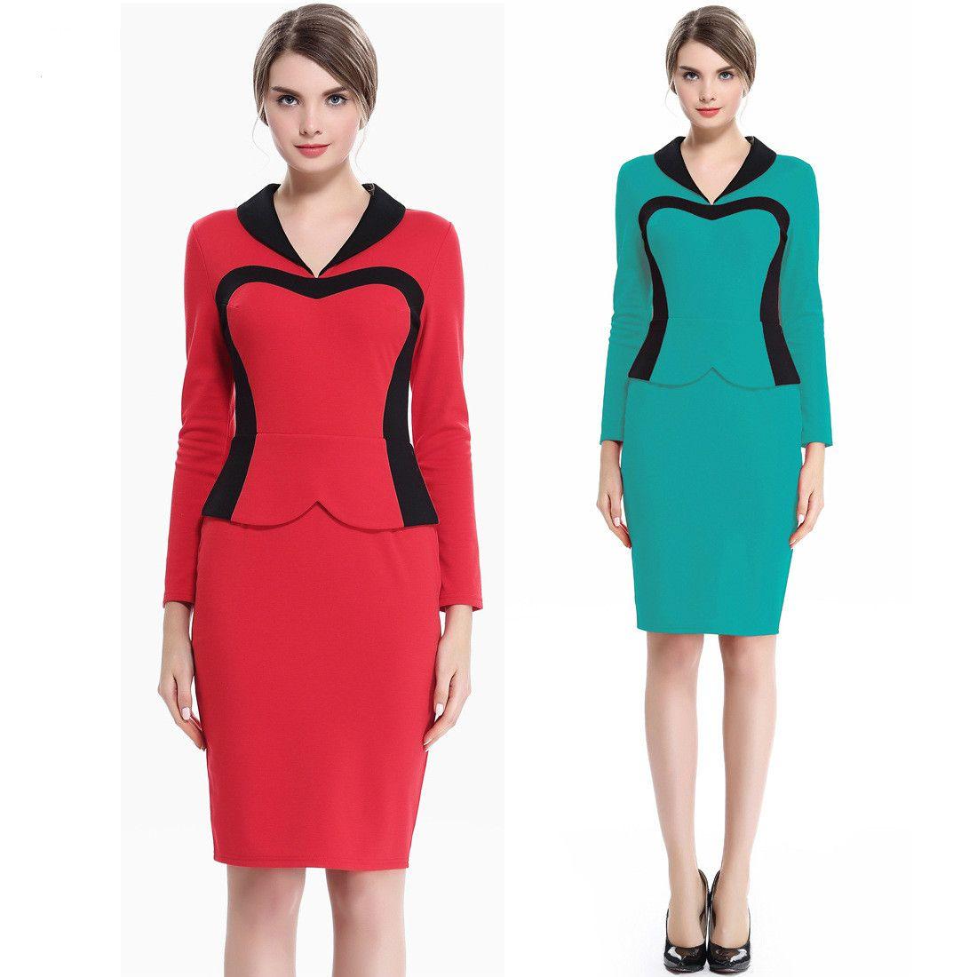 2019 Work Clothing Lady Elegant Long Sleeve Career Dresses Slim High ...