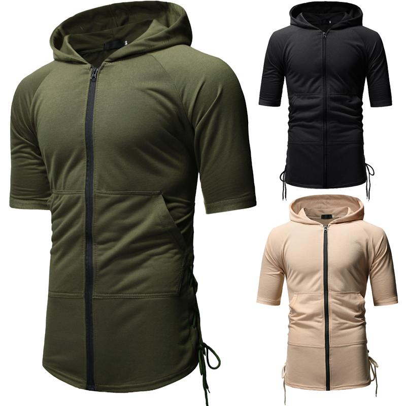 Mens Solid Color Hooded Tshirt Zipper Drawstring Short Sleeve Mens Designer Tops Teenager Fashion Tees