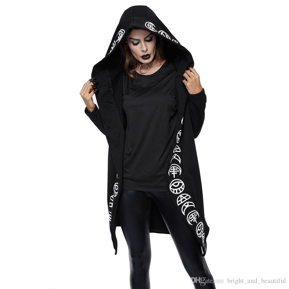 2019 Fall Gothic Casual Cool Chic Black Plus Size Women Sweatshirts Loose Cotton Hooded Plain Print Female Punk Hoodies