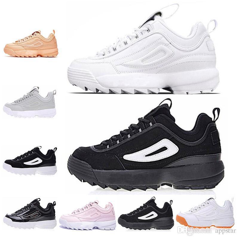 a7d720d5d898 fila 2019 sneaker II para hombre mujer zapatillas Rosa blanco negro gris  diseñador mens entrenadores para mujer de cuero calzado deportivo tamaño ...