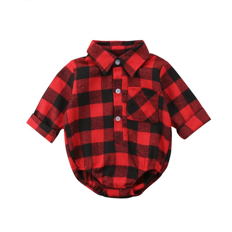 0a615b92e840 2019 Xmas Elk Bodysuit Baby Girl Boy Clothes Long Sleeve Body Suit Newborn  Plaid Bodysuits Christmas One Piece Clothes From H6241163