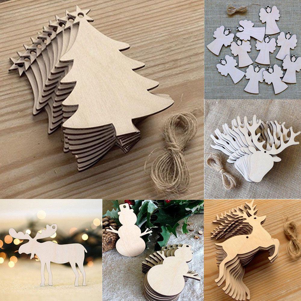 Grosshandel 10 Stucke Holz Christbaumschmuck Ornamente Weihnachten
