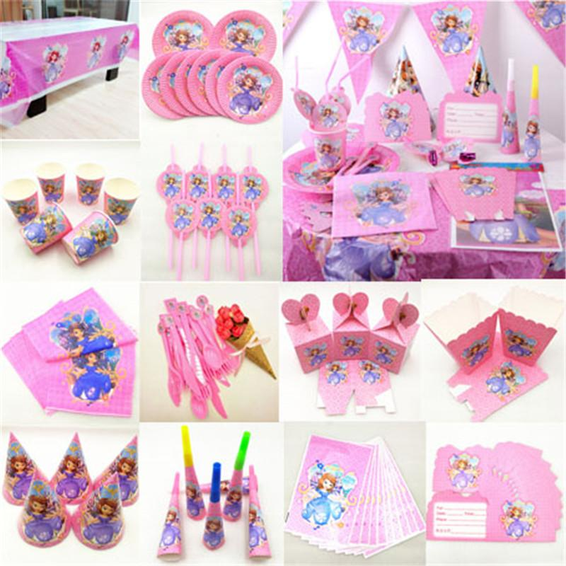 Kids Birthday Princess Party Supplies Decoration Tablecloth Cup Plate Straw Napkin Gift Bag Candles Candy Popcorn Box Card