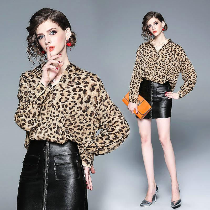 3017f0f562a5b Compre Leopardo Solapa Para Mujer Camisa Moda Blusas Sexy Camisa De  Negocios Damas Oficina Camisas 2019 Primavera Nuevas Camisas De Manga Larga  A  15.47 Del ...