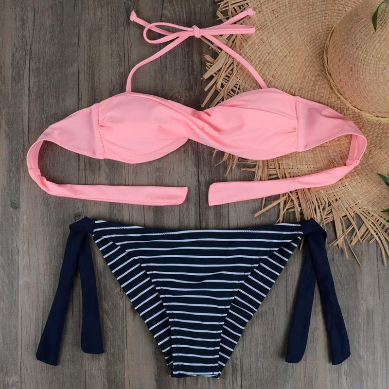 f7ae9ea2cb5b5 2019 2019 Summer Women Bikinis Set Sexy Striped Swimwear Strappy ...