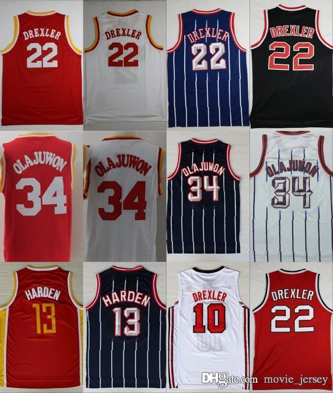 sports shoes bca0f 2f6ca Houston Basketball Jerseys 34 Olajuwon Rockets 22 Clyde Hakeem Drexler #10  Jersey 13 Harden 1992 HOT Dream Team James Red Navy Blue White