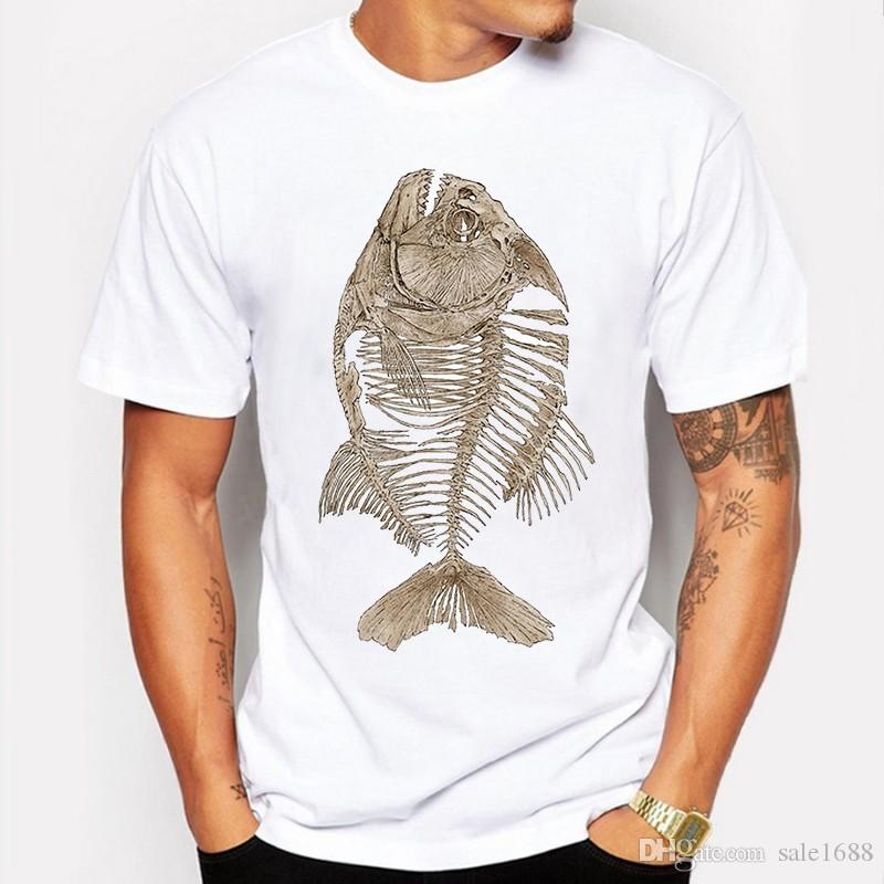 33a69e8d0 Summer T Shirt Men T-shirt Compression Hip Hop Bony Piranha Fish ...