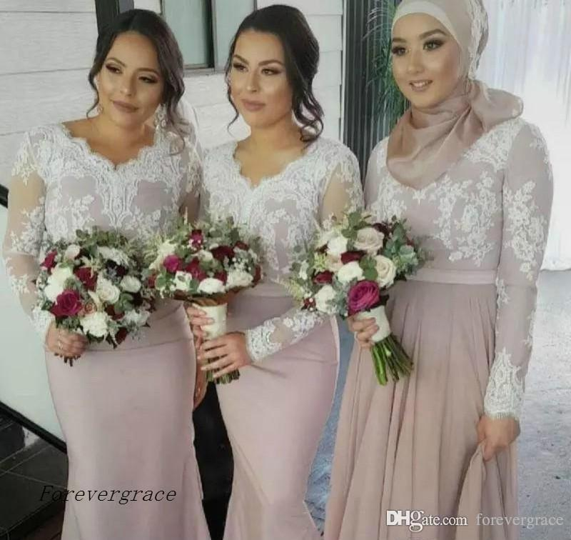 2019 Cheap White Lace Bridesmaid Dress Muslim Arabic V