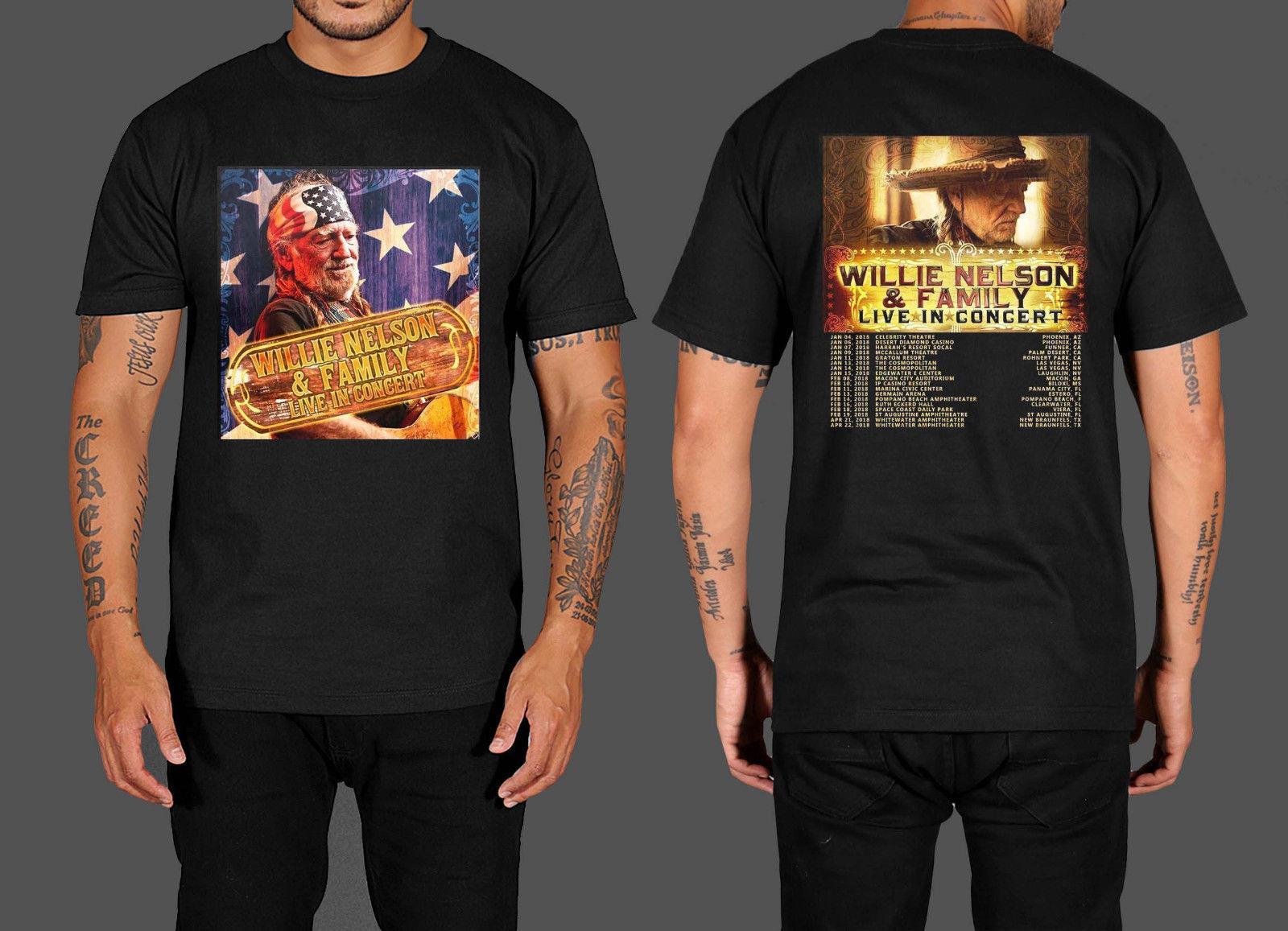 307193b65 Compre New Popular Willie Nelson Família Tour Date 2018 Preto T Shirt Dos  Homens Clássicos Dos Homens T Camisa Casual Verão T Shirt Tops De  Armanitshirt, ...