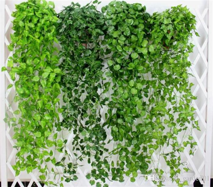 Green Artificial Leaves Fake Flowers Hanging Vine Plant Leaves Foliage Flower Garland Home Garden Wall Hanging Decoration G406