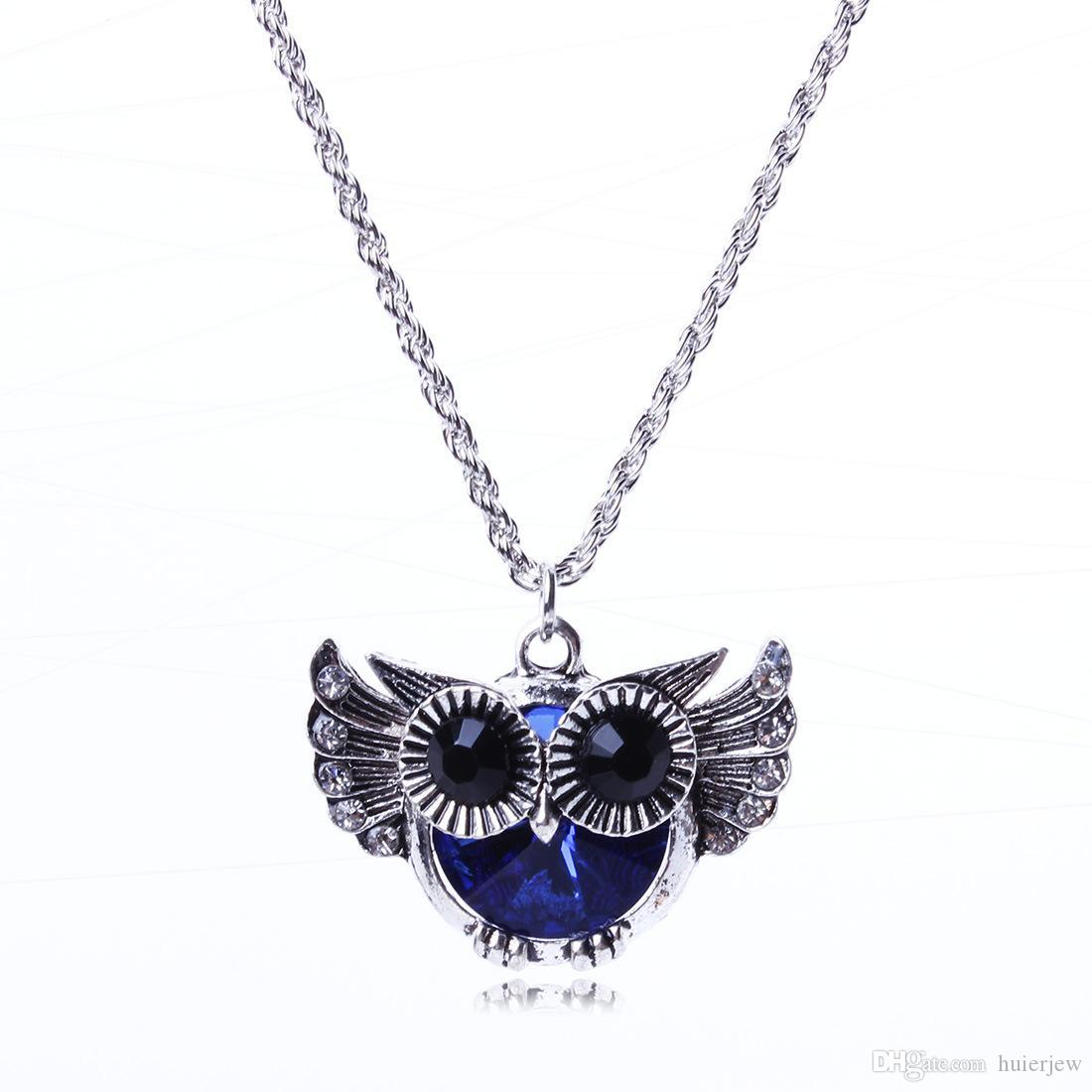Necklaces Pendant Chain Necklace flying owl blue Beautifully crystal rhinestone bead fashion pendant necklace