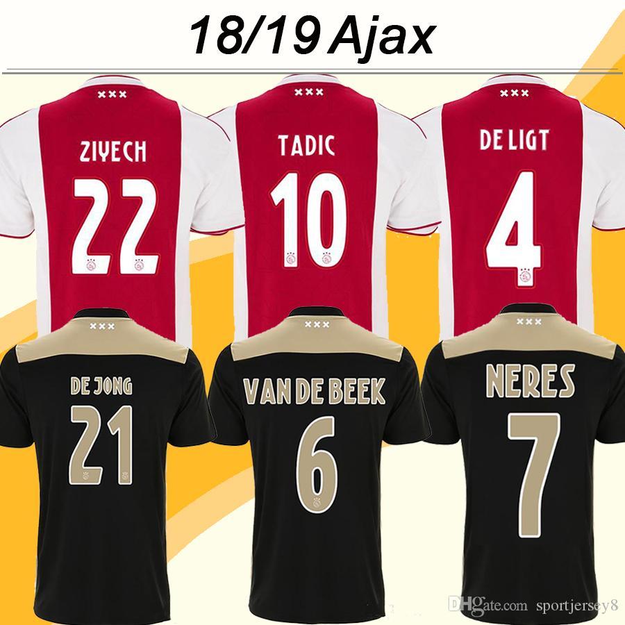 16937f227 2019 2018 19 Ajax HUNTELAAR TADIC Soccer Jerseys DOLBERG ZIYECH Home Away  Football Shirts NERES DE JONG L.SCHONE DE LIGT Short Mens Uniforms From ...