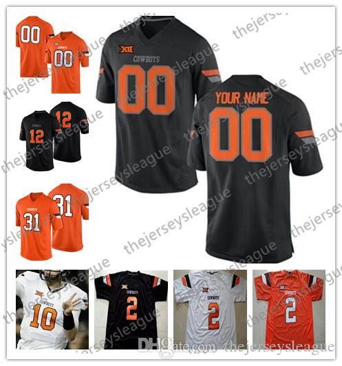 promo code 8e4c6 81a40 Custom Oklahoma State Cowboys Any Name Number Stitched Black White Orange  #81 Justin Blackmon 45 Chad Whitener NCAA College Football Jersey