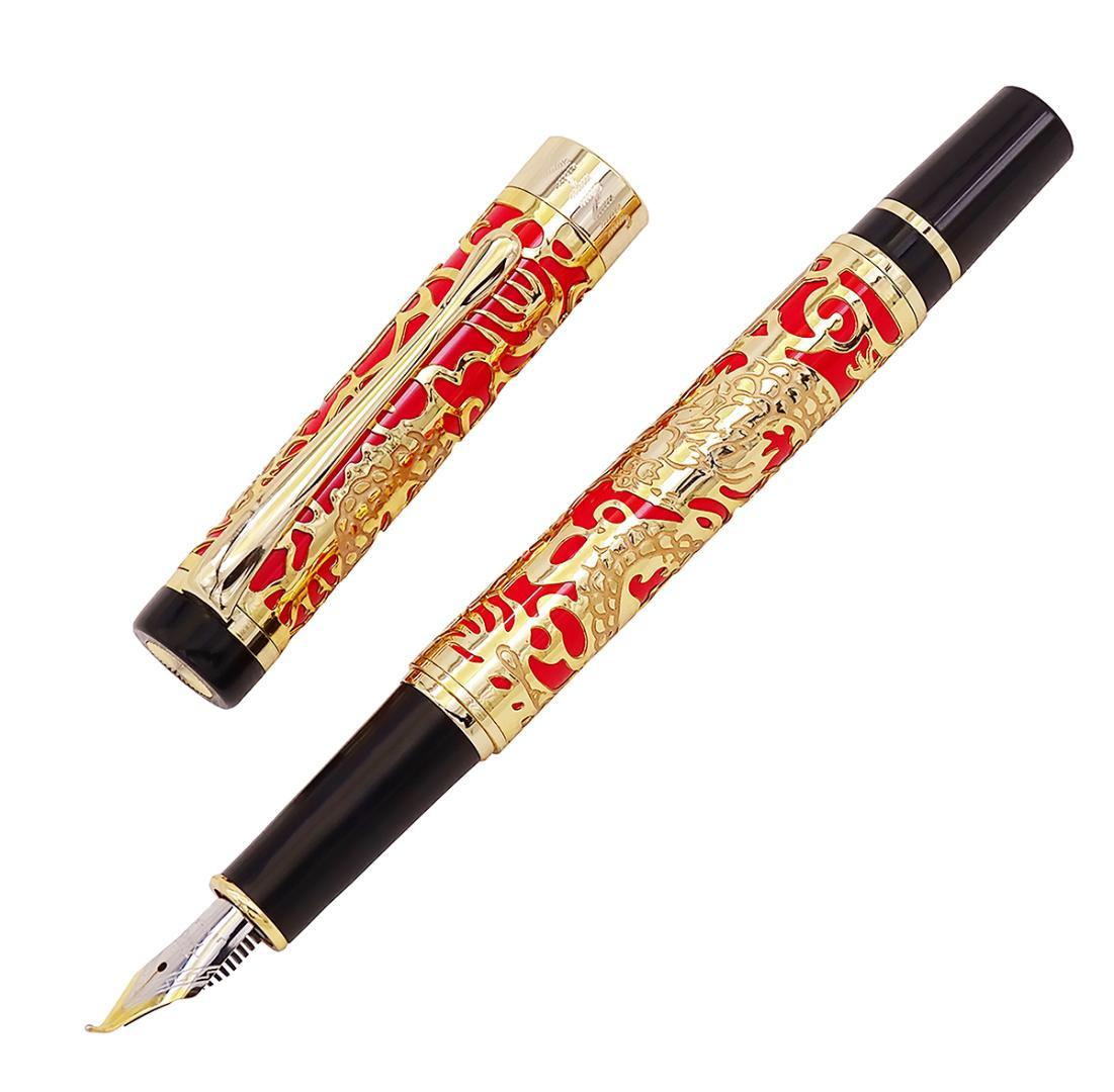 Jinhao 5000 Vintage Luxury Metal Calligraphy Pluma Estilográfica Doblada Hermosa Dragón Talla de textura, Golden Red Office Pen