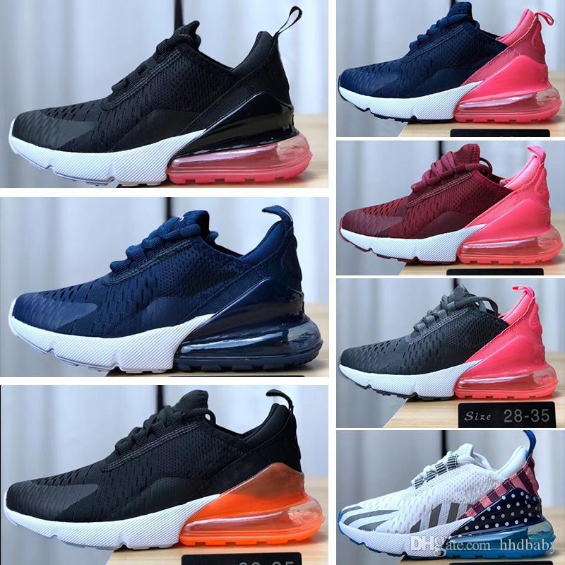 Nike air max 270 28 35 Otoño Niños Deportes gris púrpura rosado Zapatillas de deporte ocasionales de los muchachos de las muchachas Entrenador del