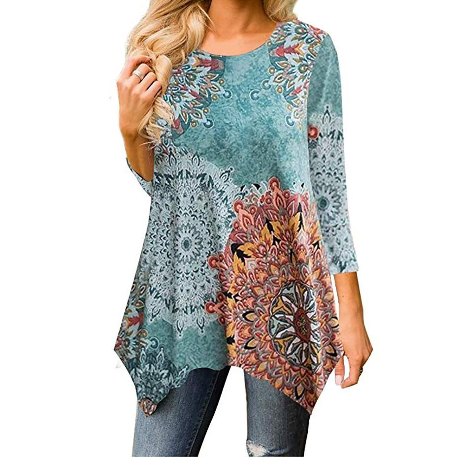 Femme Floral Printed Irregular T Shirts Women Summer Loose Casual Beach Tshirt  O Neck Autumn Basic Tops Plus Size Tees GV912 Funny T Shirt Prints Funky T  ... a39d9c2419a2
