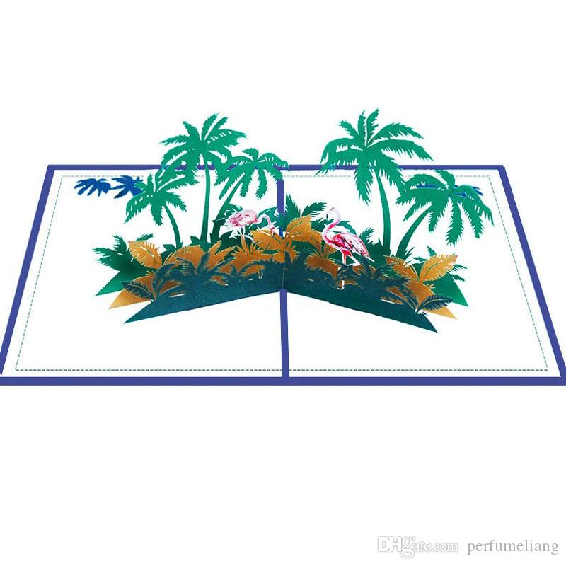Handmade Kirigami Origami Flamingo Coconut Tree 3D Pop UP Greeting Cards Invitation Card For Wedding Birthday Party Gift ZC1189