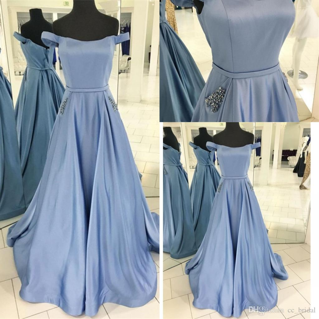 c235030f458 Elegant Off Shoulder 2019 Prom Dresses New Long Light Blue Satin Dress  Evening Wear Beaded Crystal Party Gown For Graduation With Pockets Tall Prom  Dresses ...
