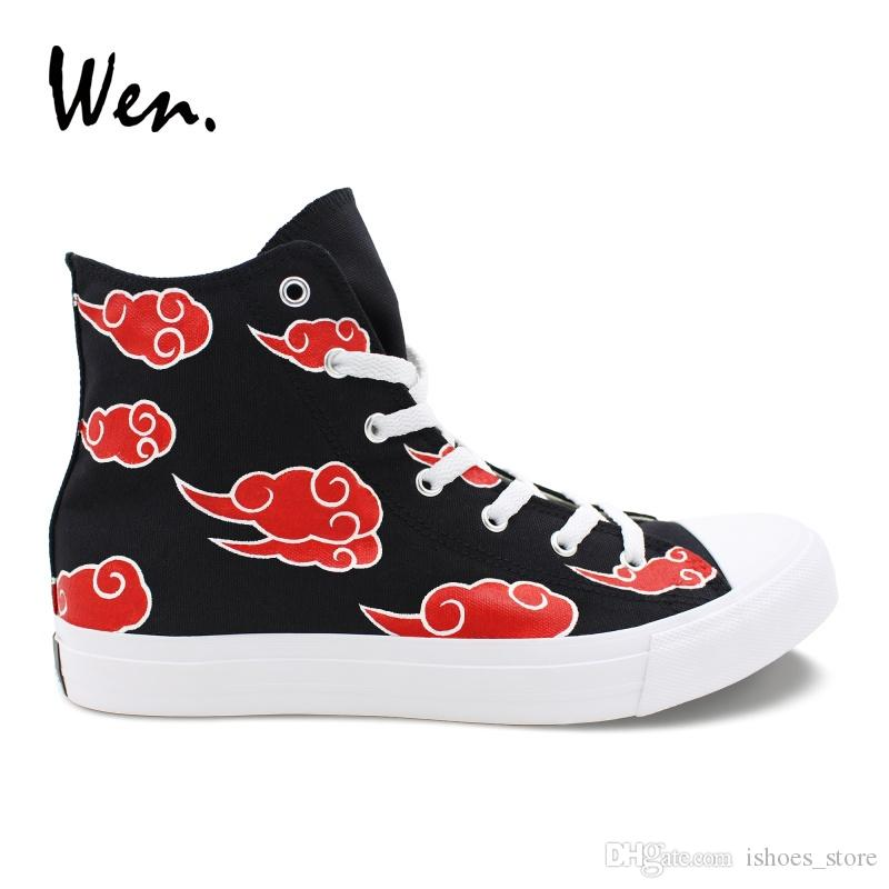 234b0db4febc00 Wen Custom Hand Painted Shoes Naruto Shippuuden Akatsuki Red Clouds Sneakers  Teens Cosplay Shoes Espadrilles Flats Zapatillas  142547 Oxford Shoes  Tennis ...