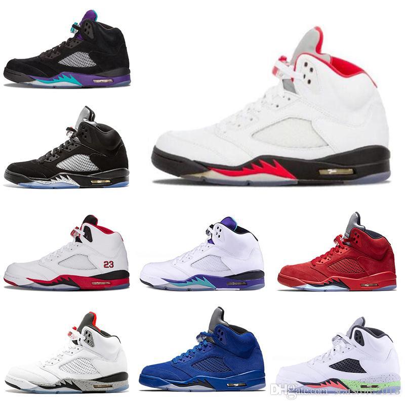 reputable site dc2b2 46398 Nike Air Jordan 5 5s Zapatillas De Baloncesto Para Hombre Baratas 2019 5 5s  Negro Uva Cemento Blanco Medalla De Oro Olímpica Mermelada Espacial Azul  Fuego ...