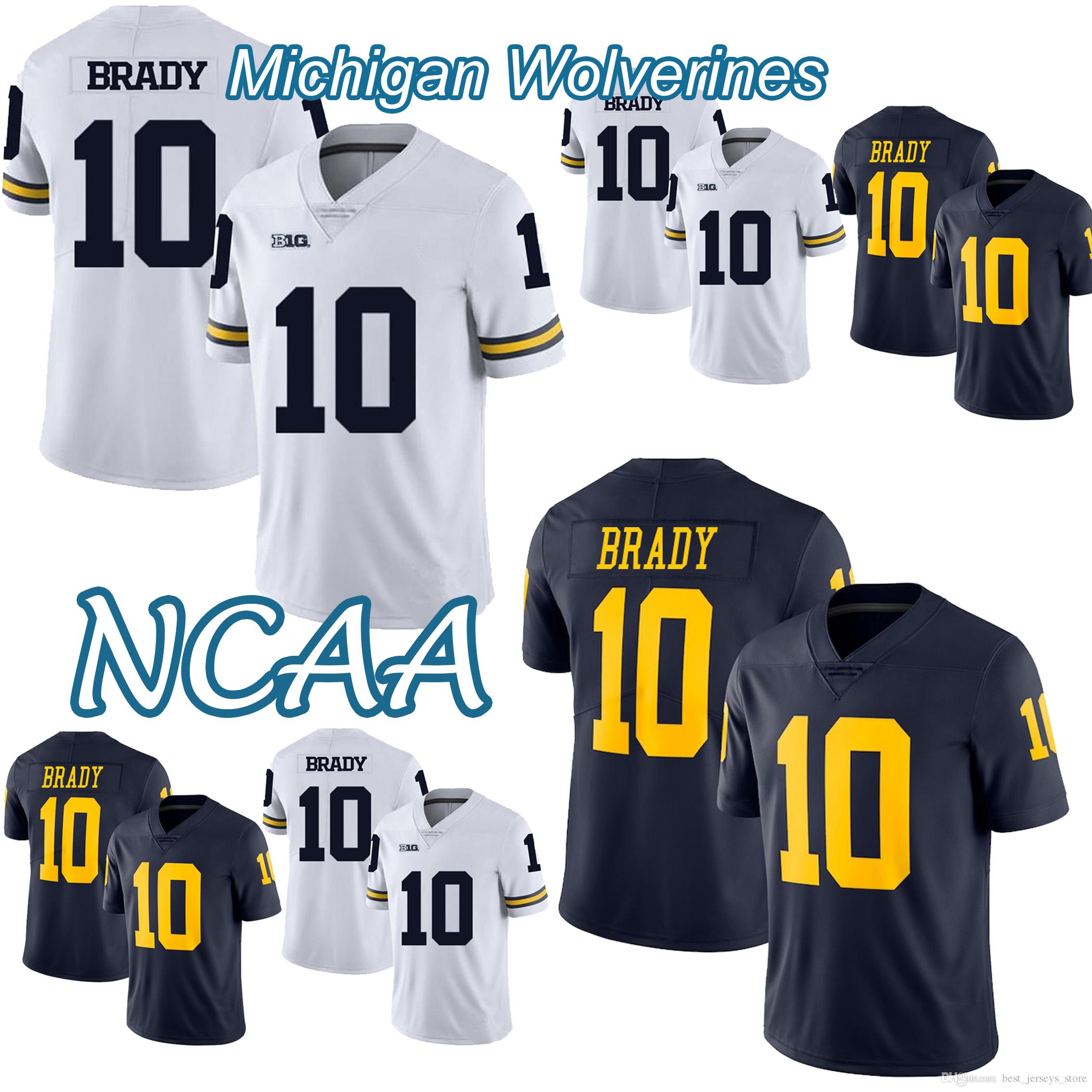 size 40 d87c1 29d34 NCAA Michigan Wolverines football jersey 10 Tom Brady Jersey Hot Sale 18 19  NEW top quality