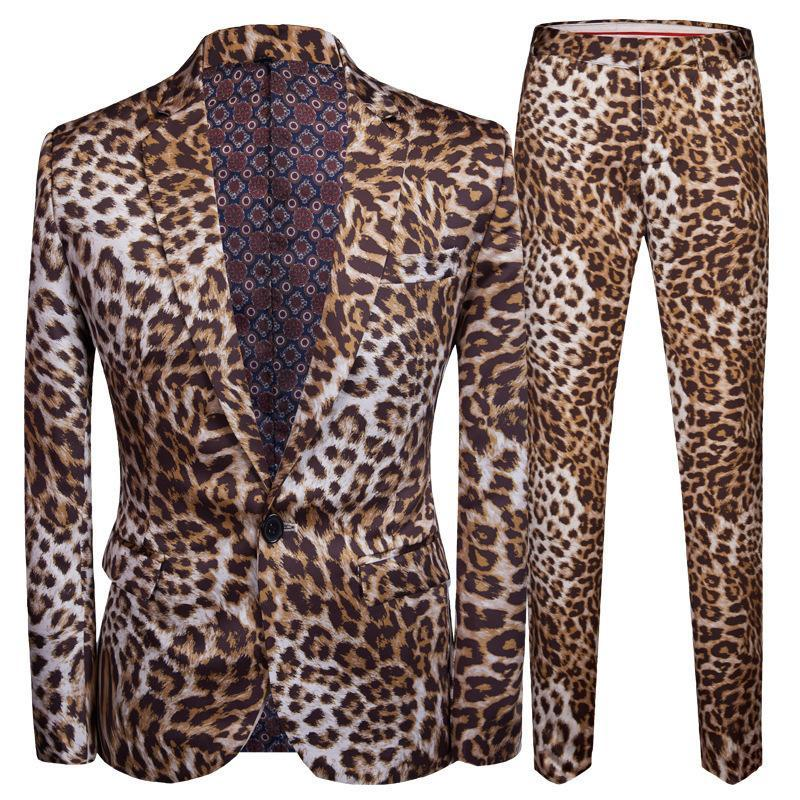 Pyjtrl Tide Homens Plus Size Dj Night Club Leopard Print 2 Suits Pieces Set Homens com calças Stage Singers Traje Casual Suit Y190420