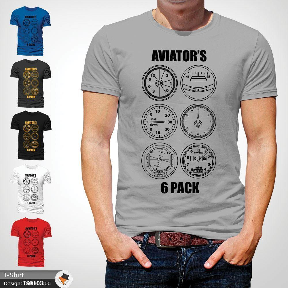 53fa8b911 Aviator's Six Pack T-Shirt Aeroplane Aircraft Plane Pilot Gift Mens Top  Gray ! Funny free shipping Unisex Casual Tshirt top