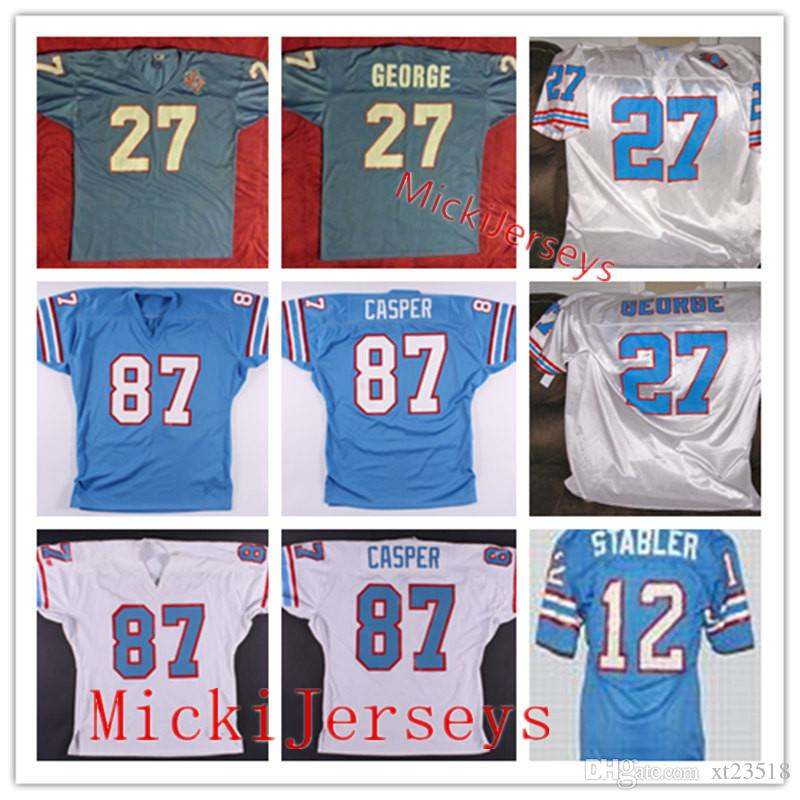 low priced 9df8b 95d3e Mens NCAA Oilers #27 EDDIE GEORGE Vintage Jersey Stitched 1980 #12 Ken  Stabler #87 Dave Casper Oilers Football Jersey S-3XL